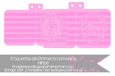 Etiquetas de primera comunión para niñas
