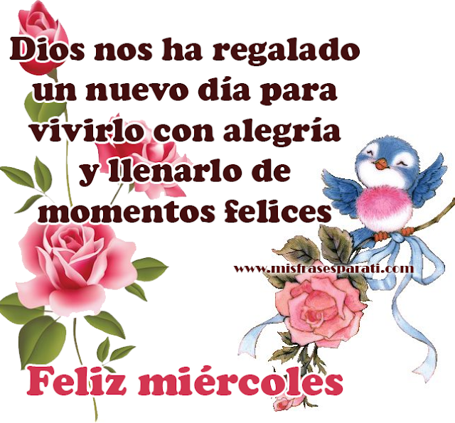 Dios nos ha regalado un nuevo día para vivirlo con alegría y llenarlo de momentos felices Feliz miércoles