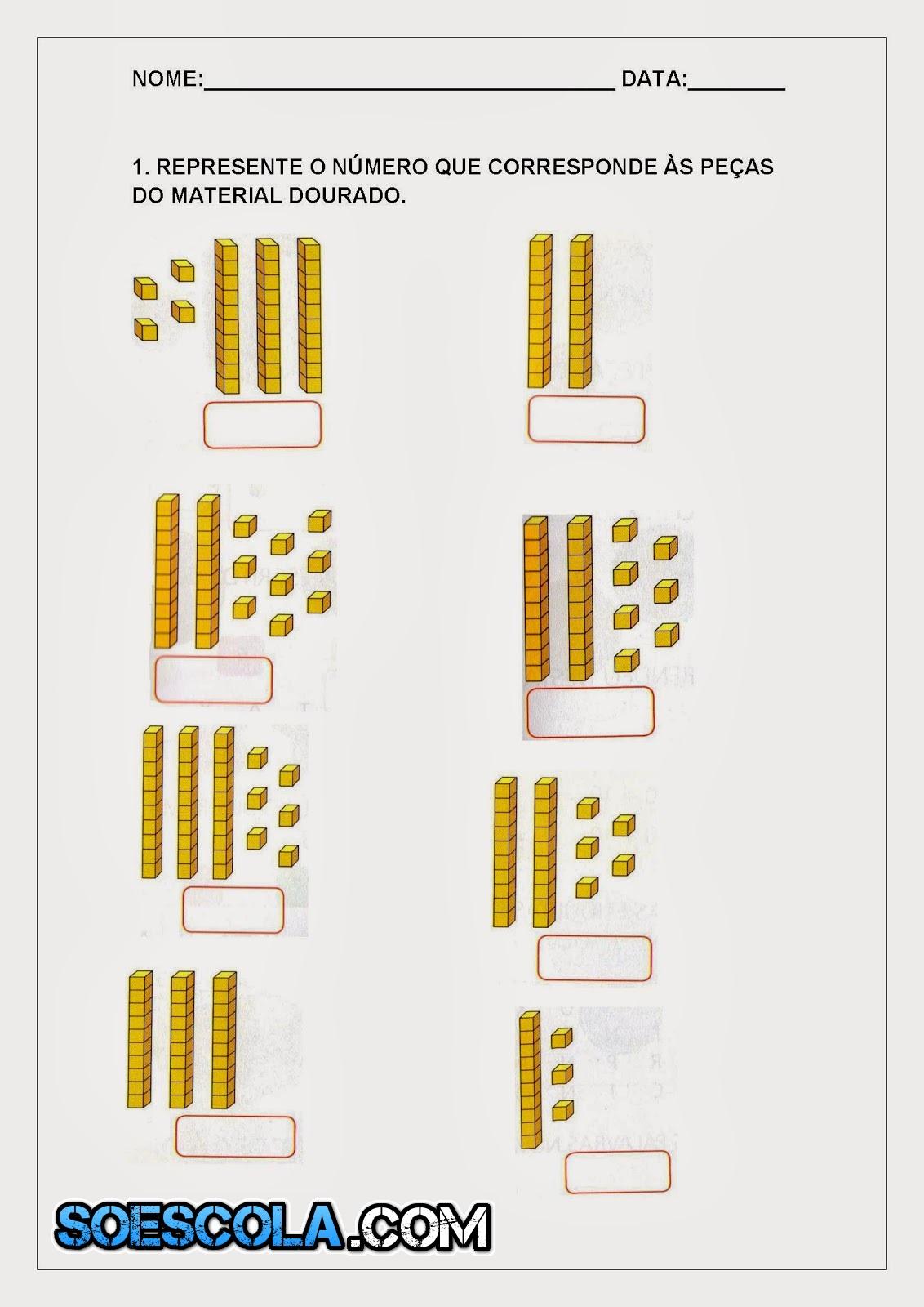 uma sequência de atividades para alunos do 1º ano do ensino fundamental I.   São três folhas de atividades com o objetivo de ensinar o aluno a contar e a representação do números.