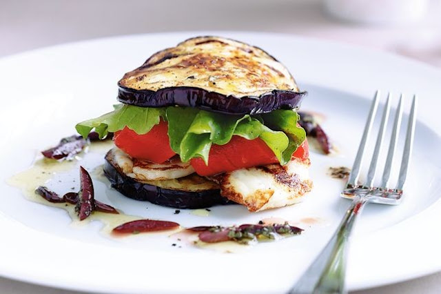 Stack on the the fresh grilled flavours of haloumi and eggplant in this elegant dinner pa Barbecued haloumi and eggplant stack recipe