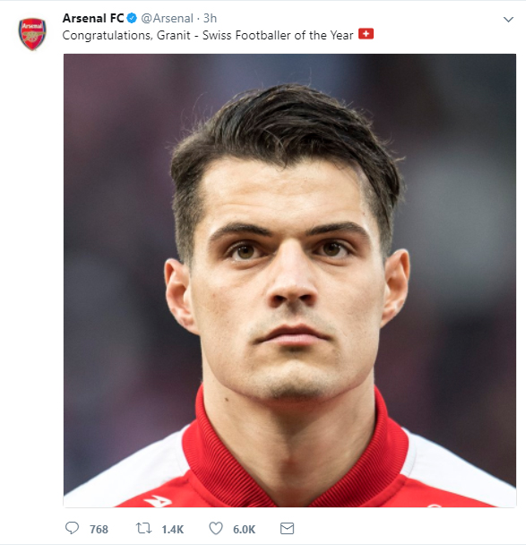 Arsenal congratulate Granit Xhaka on winning the Swiss Player of the Year