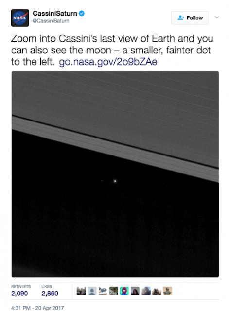 La NASA revela fotografías de la tierra vista desde Saturno