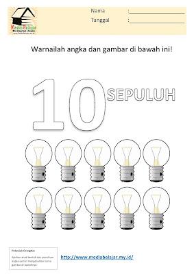 Mewarnai Angka 10 (sepuluh) dan Mewarnai Lampu