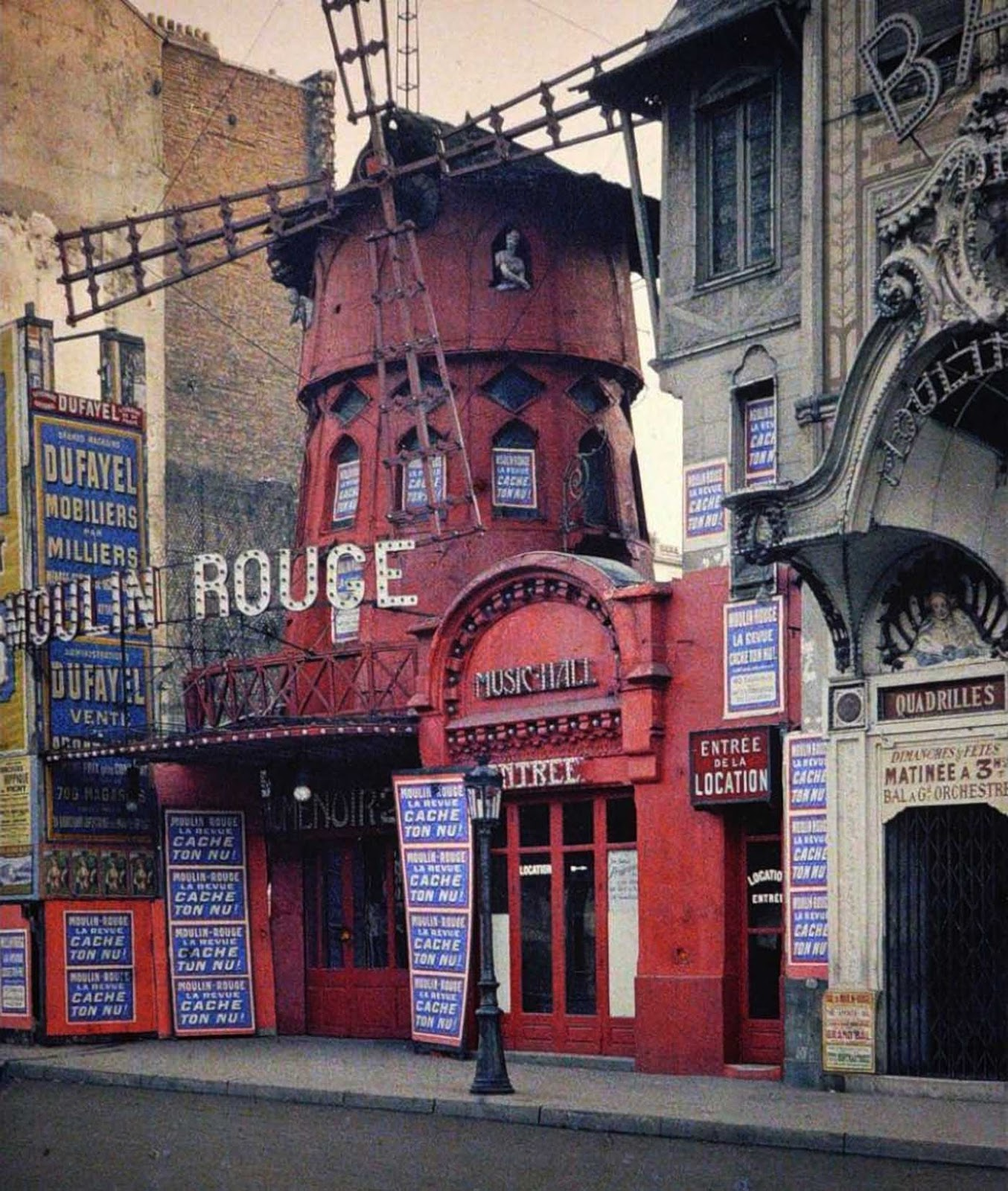 The original Moulin Rouge the year before it burned down, Paris, France, 1914.