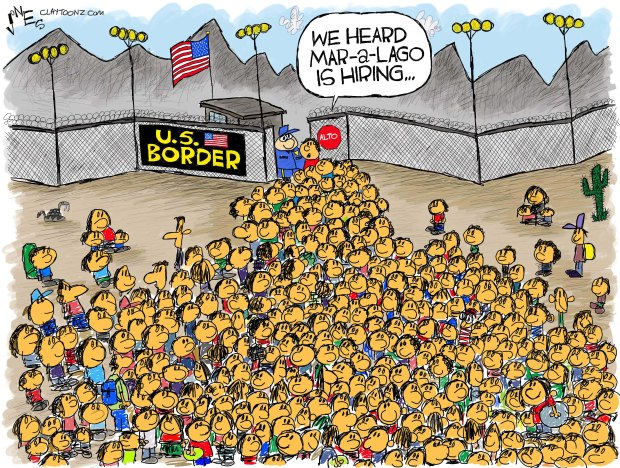 Crowd of immigrants at U. S. border checkpoint.  One says to the border guard,