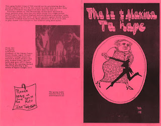 The programme for the 1973 Last Maxina in Taihape show at Victoria University, featuring Tamburlaine and co-written by Tom Scott
