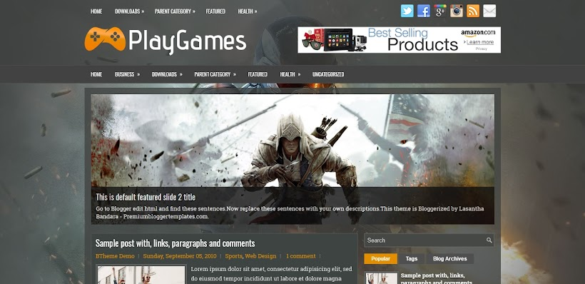 PlayGames Free Blogger Template