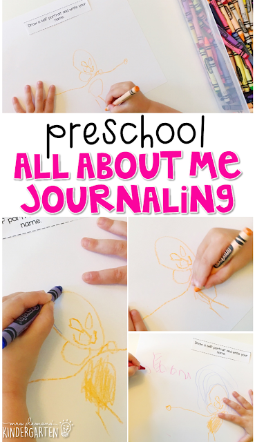 All about me journal writing is a great way to show learning, practice fine motor skills and learn about writing. Great for tot school, preschool, or even kindergarten!