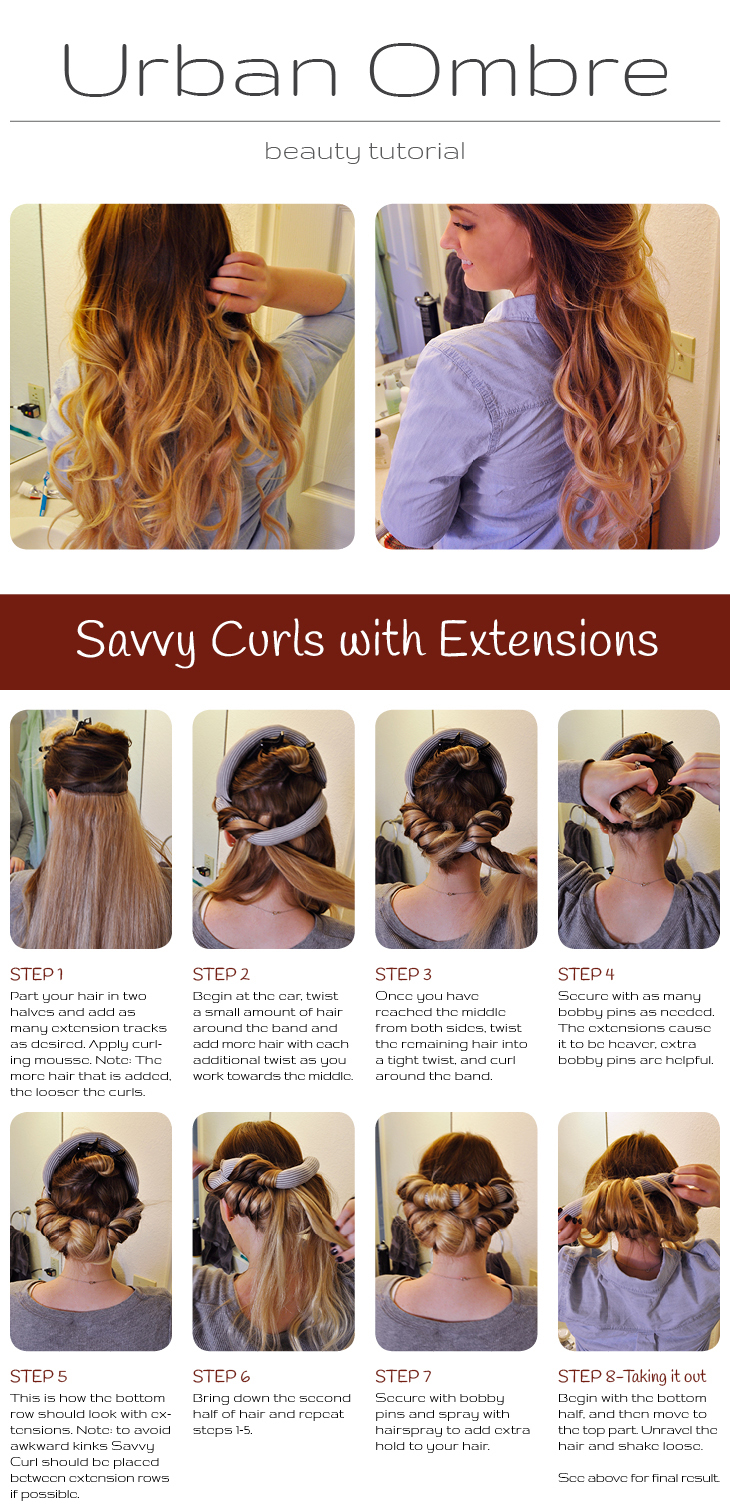 Detailed tutorial images and instructions on how to use Savvy Curls with extentions