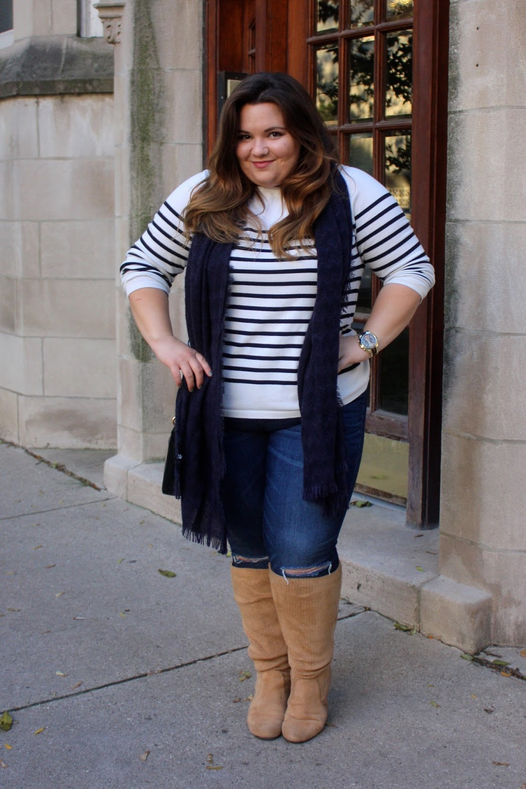 how to cut holes in jeans, cut holes in the knees, CAN CURVY GIRLS WEAR HORIZONTAL STRIPES, plus size, horizontal stripes, how to wear stripes, plus size fashion blogger, fashion blogger, natalie craig, natalie in the city, chicago, wide calf boots, striped sweaters, fall fashion, how to wear a scarf