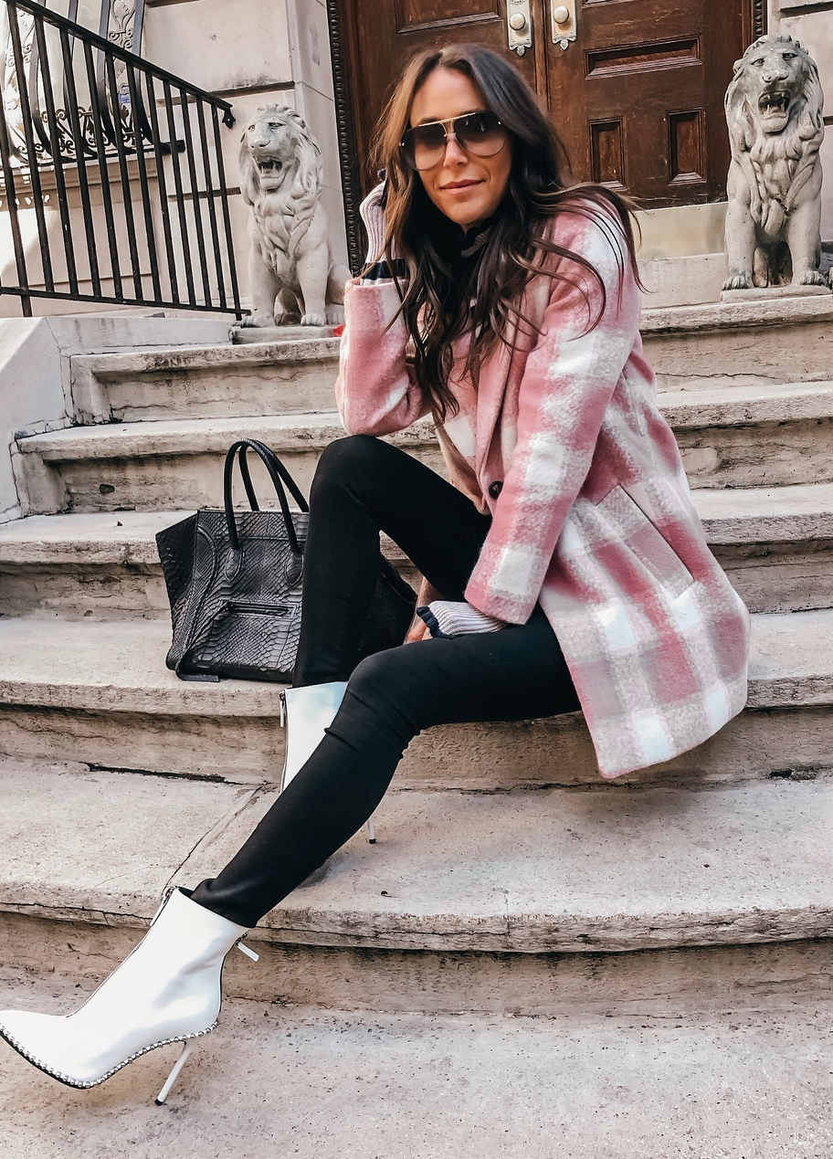 fashion trends | pink plaid coat + bag + black skinnies + boots