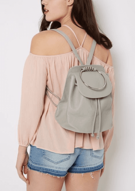 rue21 Gray metal Ring Mini Backpack