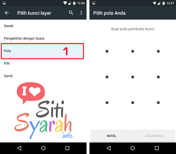 setting keamanan android pakai pola