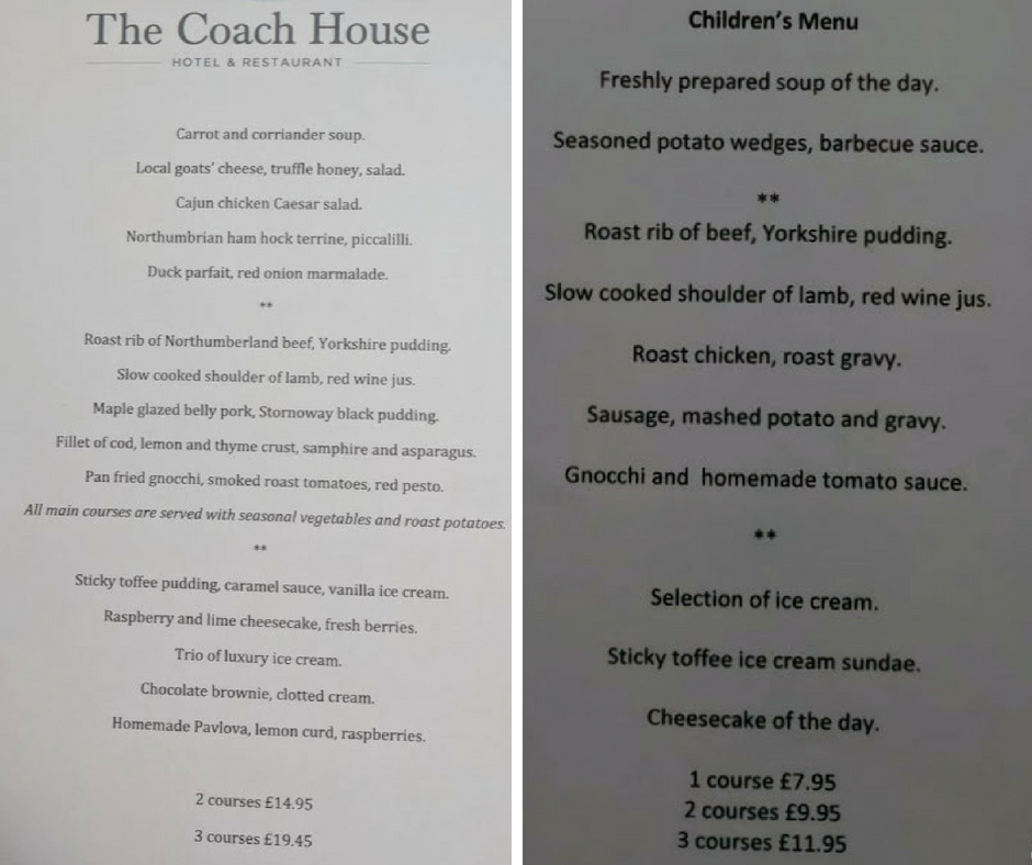 Sunday lunch at Children's Menu at The Coach House, Otterburn