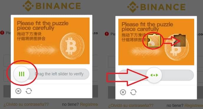 registro en binance completar puzzle iniciar sesión