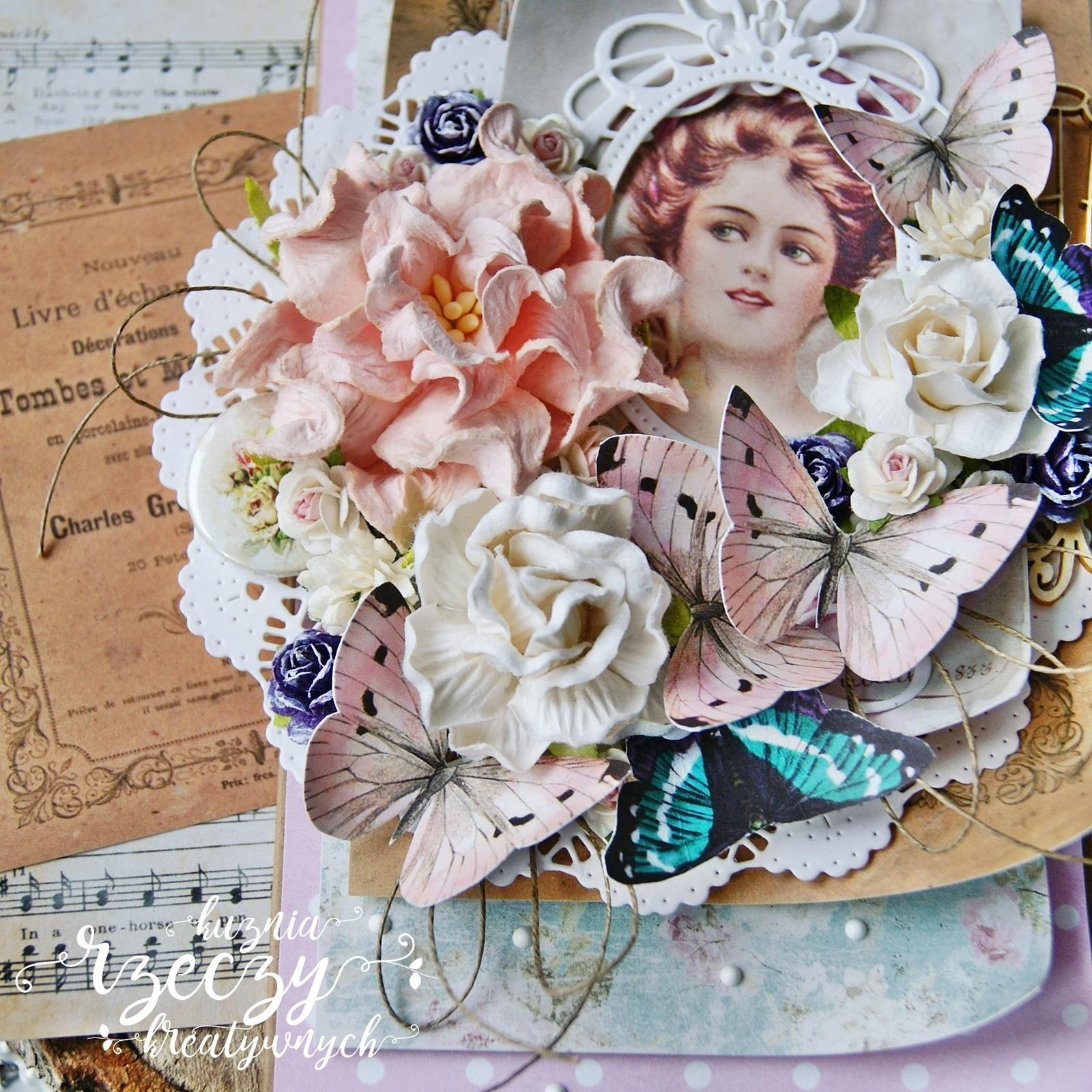 Piękne, wyjątkowe, ukwiecone warstwowe kartki w pastelowej kolorystyce.