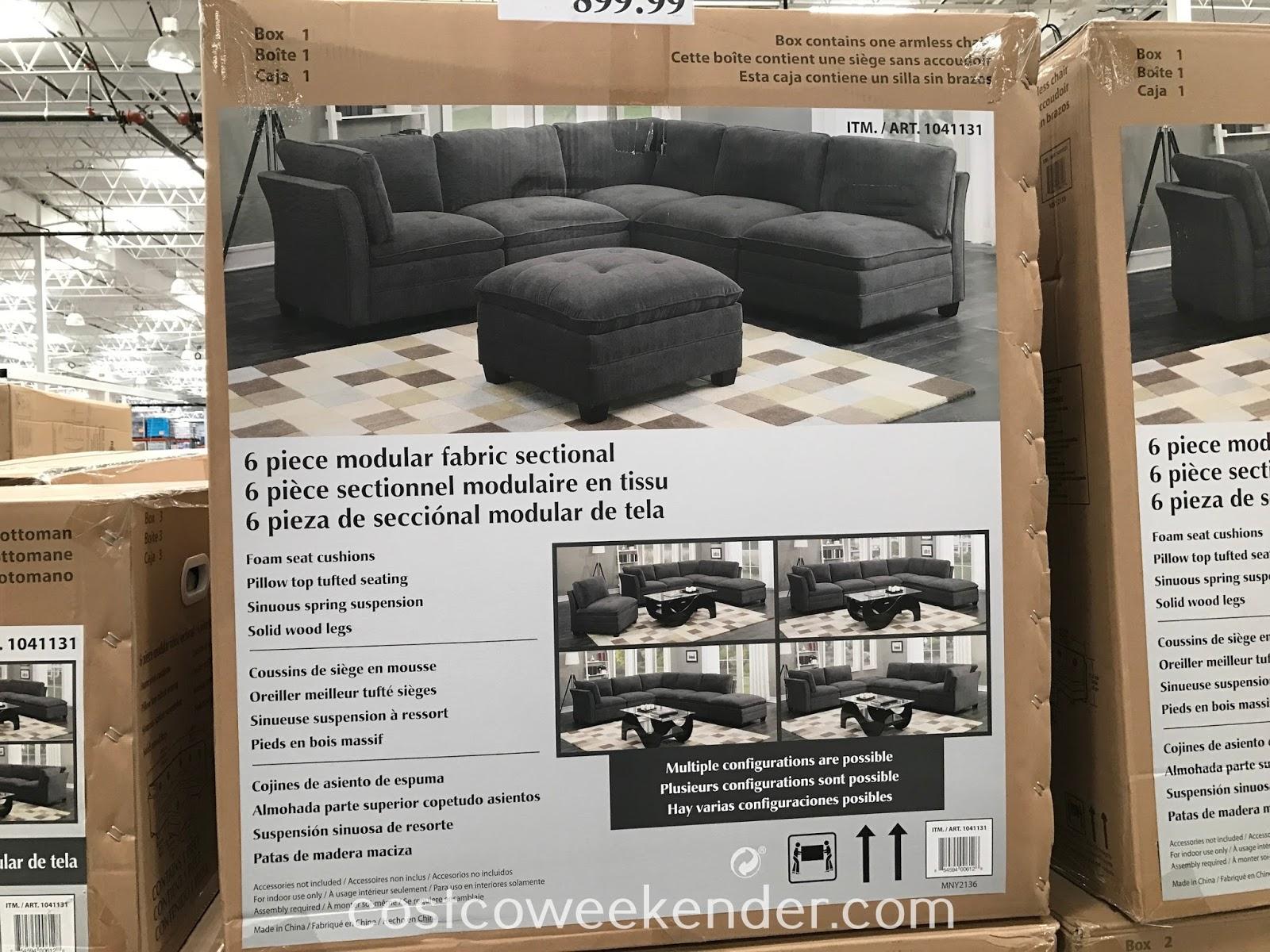 6 piece modular fabric sectional