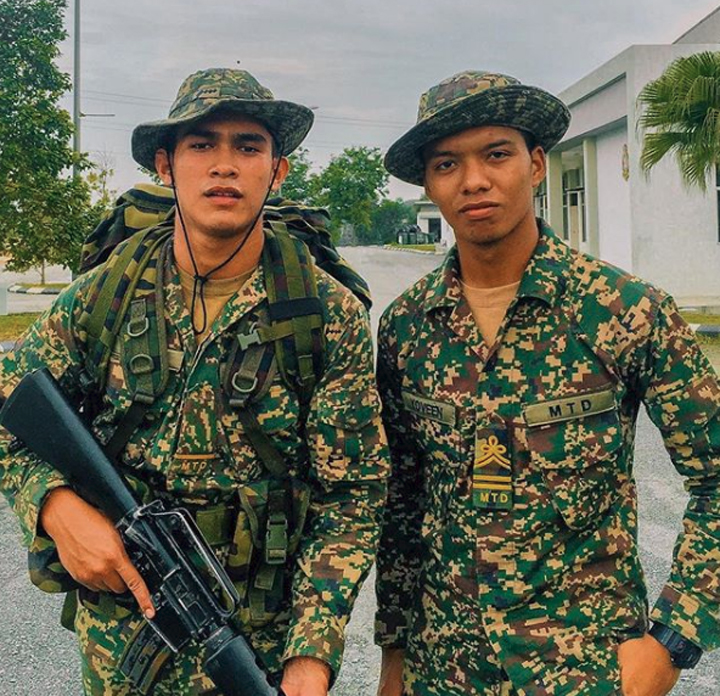 Foto Nafiz Muaz berpakaian tentera