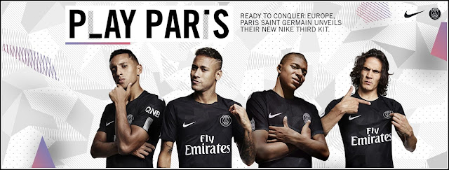 Neymar, Mbappé and Cavani wearing the Official PSG third kit 2017-18