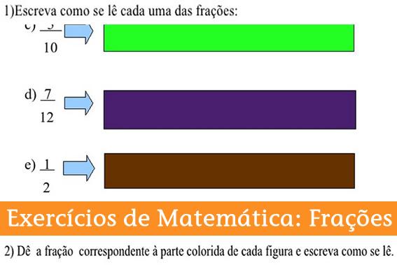 Exercício de Matemática com Frações para 4 ano.