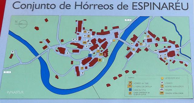 Plano del Conjunto de Hórreos de Espinaredo - Piloña - Asturias