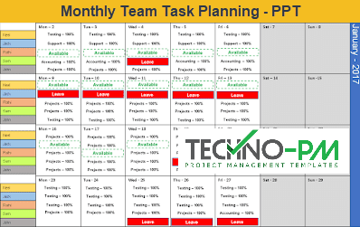 Team Task Planning, Monthly Task Planning Template, team calendar template