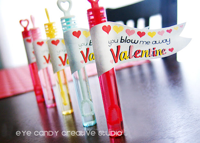 kids non candy valentine idea, bubble wands, bubble flags, kids valentine
