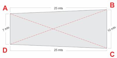 Calcular Metragem do Terreno com medidas diferentes encontrando ângulo