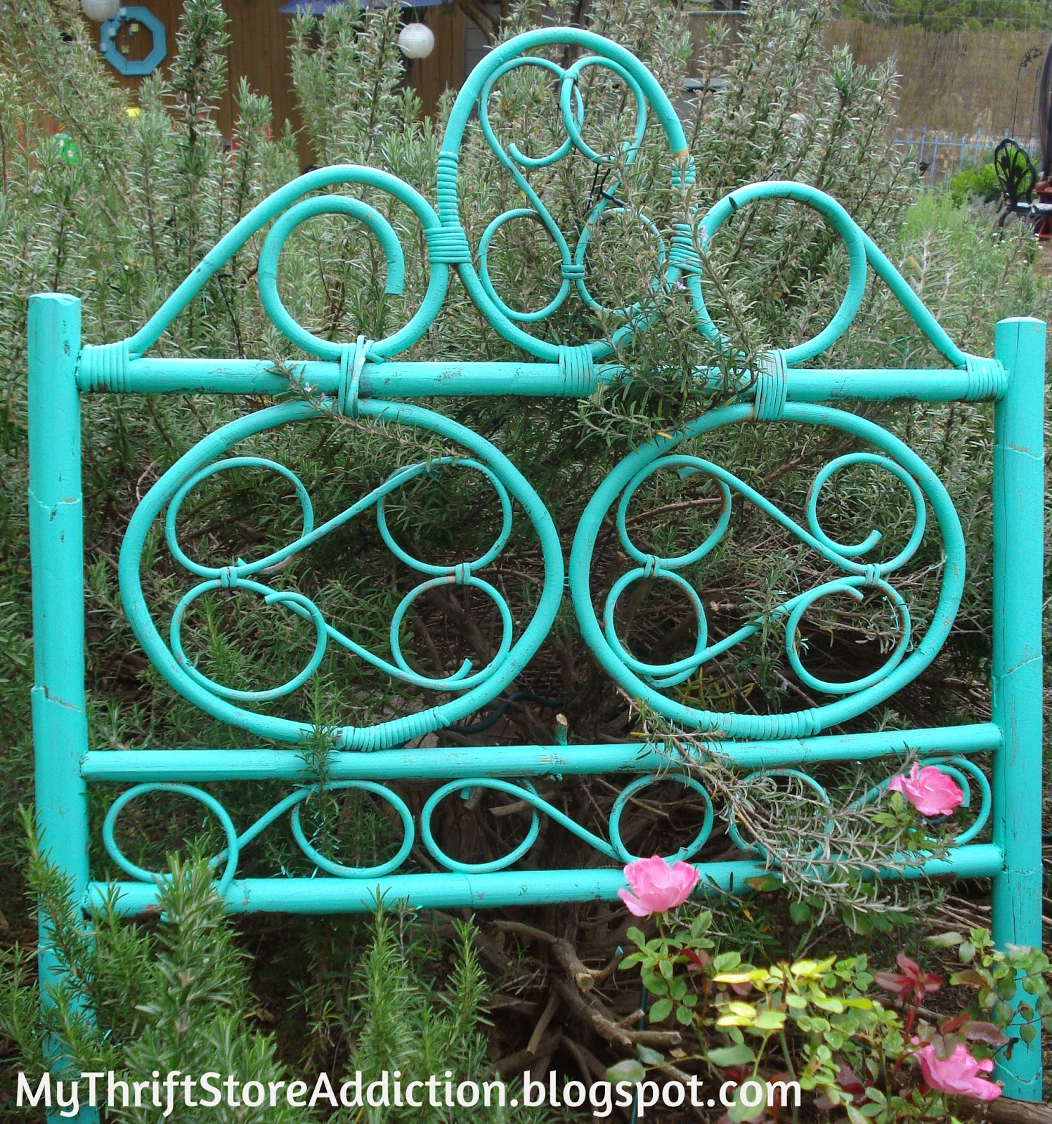 repurposed headboard garden trellis