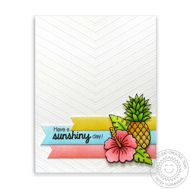 Sunny Studio Stamps: Tropical Paradise & Fishtail Banners II Chevron Card by Mendi Yoshikawa