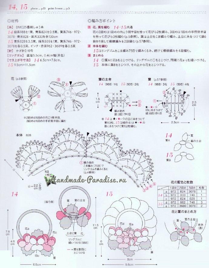 Схемы вязания резиночек с цветами (4)