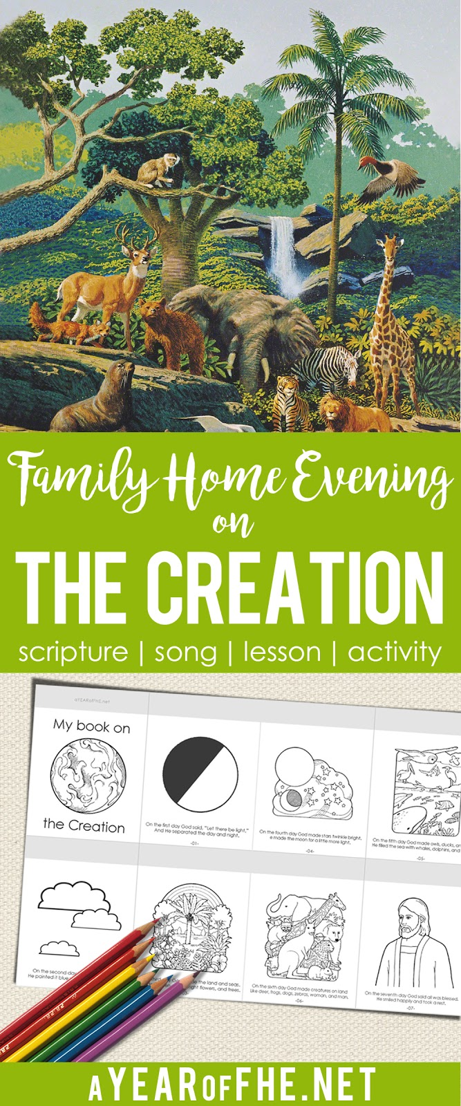 A Year of FHE // This Family Home Evening lesson is great for little ones and comes with a cute, little, flip book on The Creation for kids to color! #fhe #creation #lds