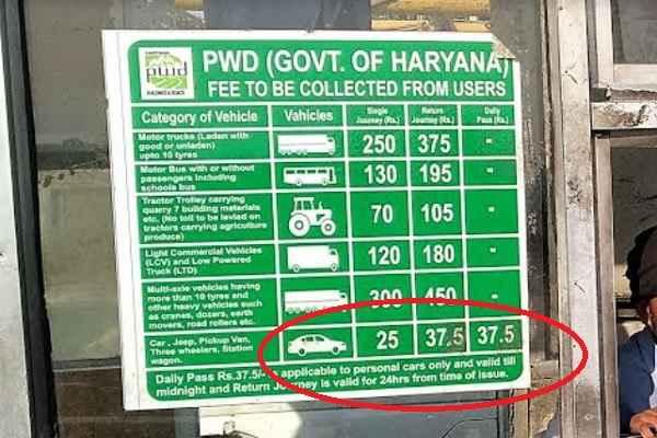 faridbad-sohna-road-toll-rate-image