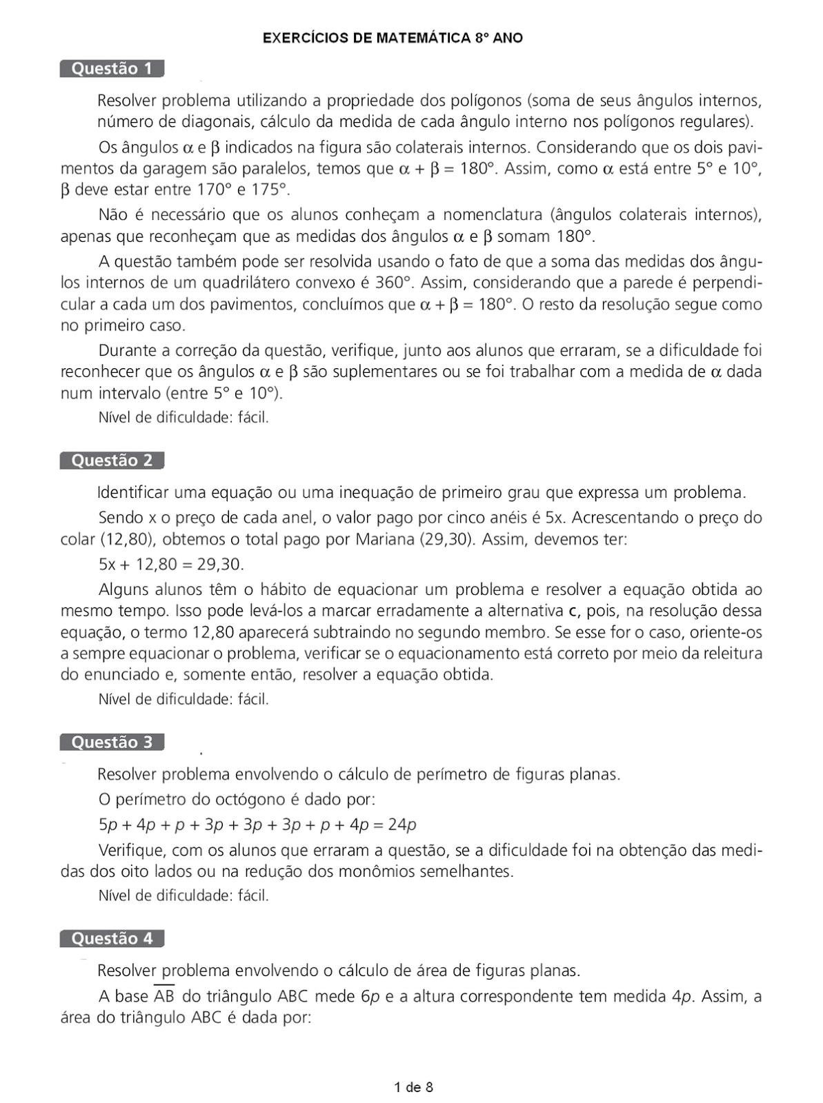 Portal Escola Matematica 8 Ano 190 Atividades Com Gabarito Exercicios Provas Avaliacoes V