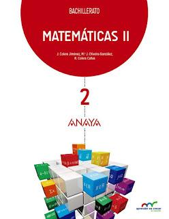 Libro Matemáticas II 2º Bachillerato Anaya Proyecto Aprender es Crecer