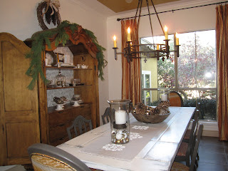Rustic dining room table and armoire