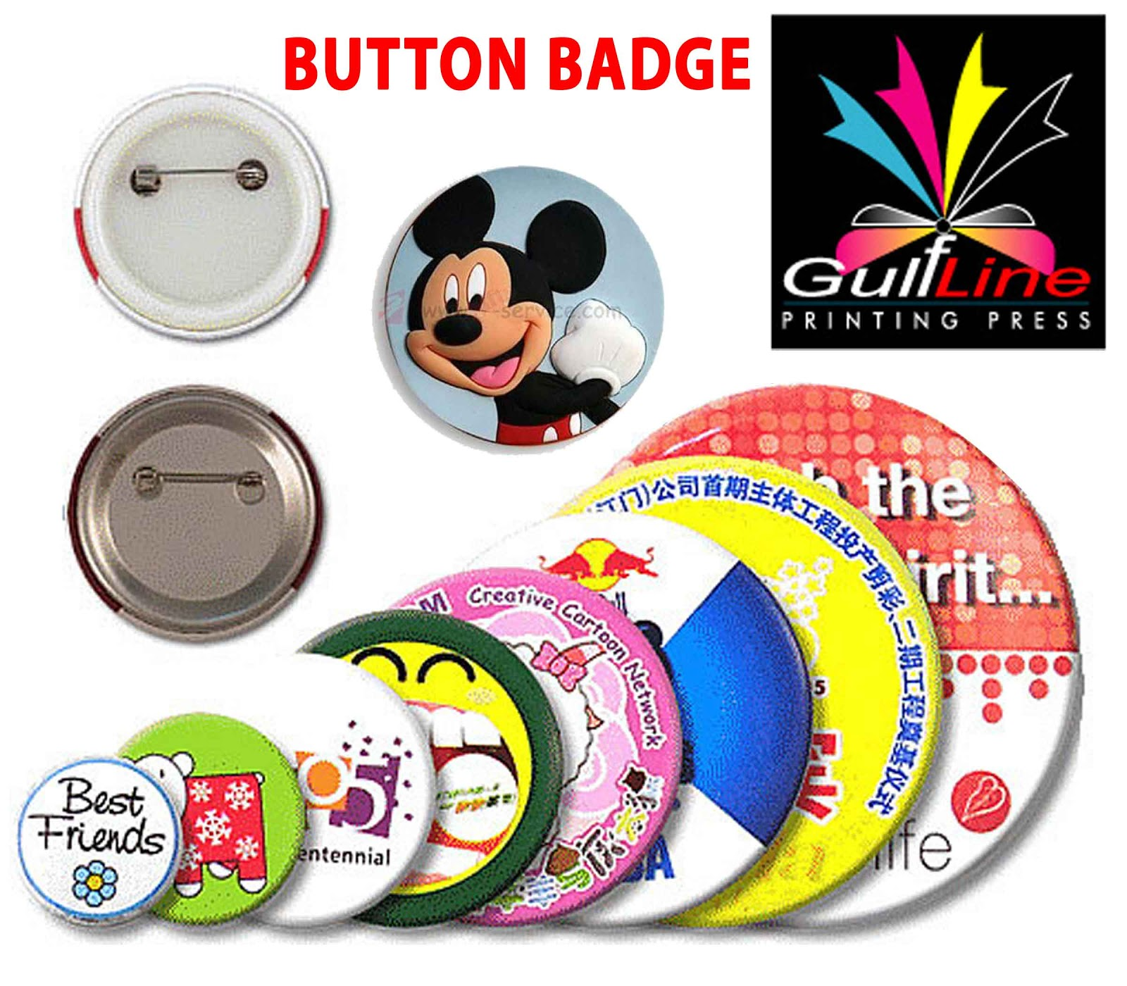 Gulfline: Need Quality Printing In Gulf ???: Button Badges