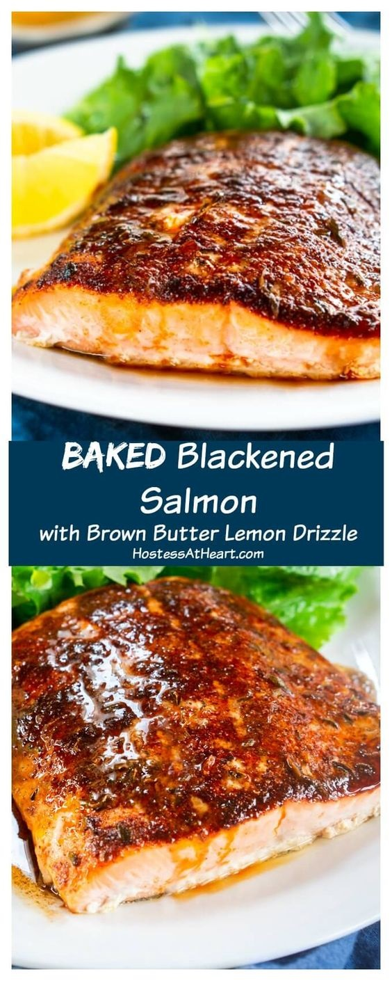 Baked Blackened Salmon with Brown Butter Lemon Glaze