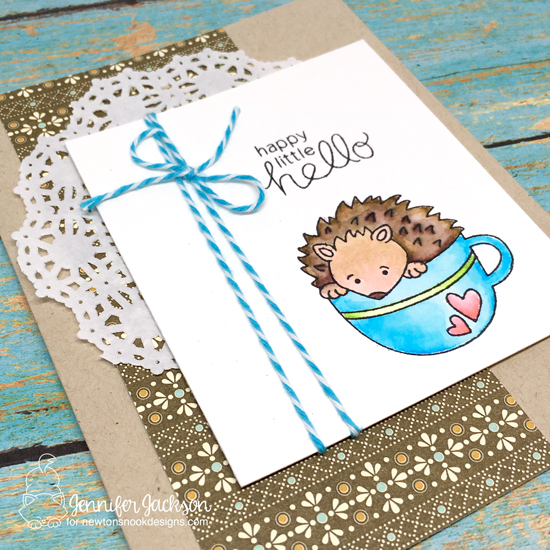 Hedgehog Hello card by Jennifer Jackson | Hedgehog Hollow stamp set by Newton's Nook Designs #newtonsnook