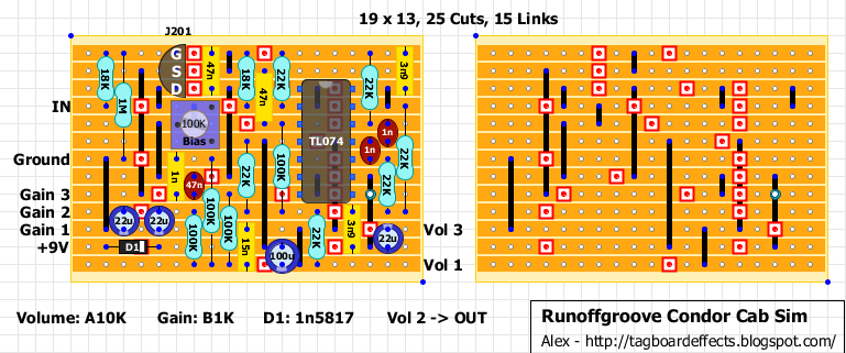 you can find all info and schematic on runoffgroove website here