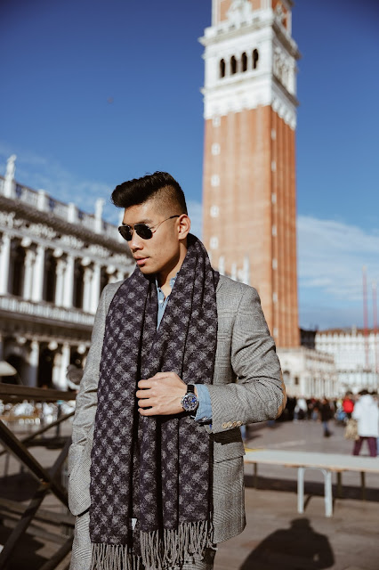 Leo Chan wearing Hart Schaffner Marx Suit on Vacation in Venice, Acne Scarf, Common Project Sneakers | Asian Male Model and Blogger