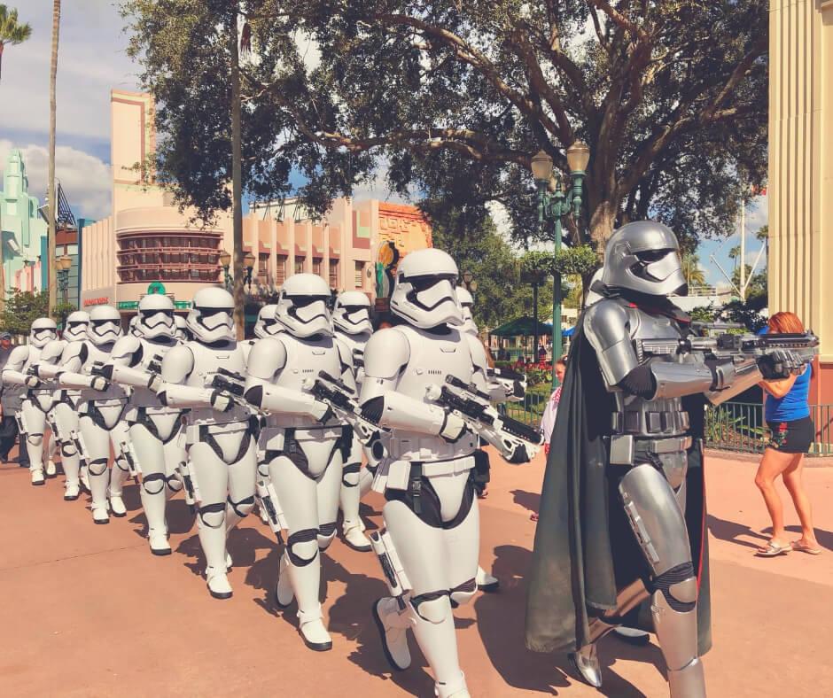 Marching Storm Troopers in Hollywood Studios, Walt Disney World.