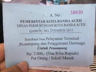 Tiket Retribusi Banda Aceh