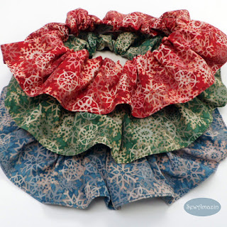 Winter Dog Scrunchie Ruffles, Snowflakes, red, green, blue