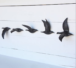 Matte Black Bone China Flying Gulls