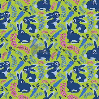 bunnies rabbits and carrots repeat pattern vector