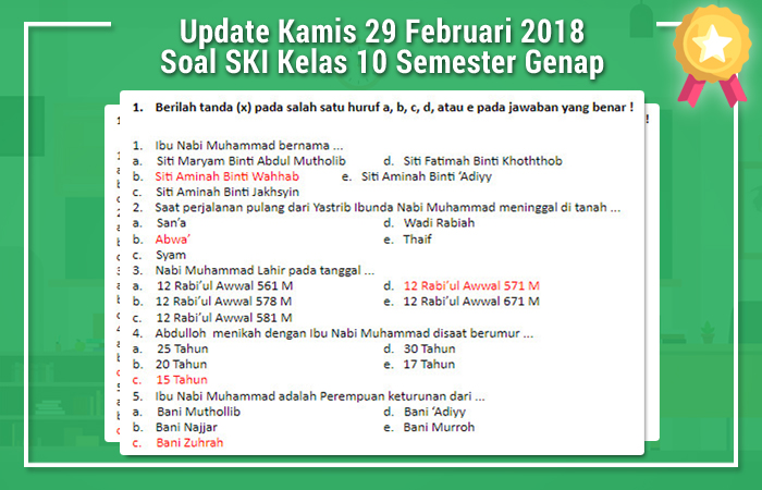 Update Kamis 29 Februari 2018 Soal SKI Kelas 10 Semester Genap