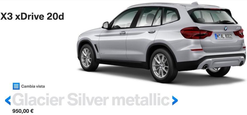 colori nuova bmw x3 2017 2018 Glacier Silver metallic