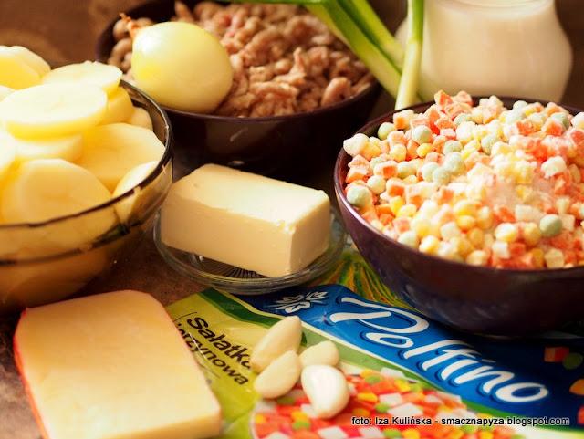 zapiekanka ziemnaczano miesna, salatka jarzynowa, mrozone warzywa, poltino, mrozonki, obiad z piekarnika, mieso, ziemniaki