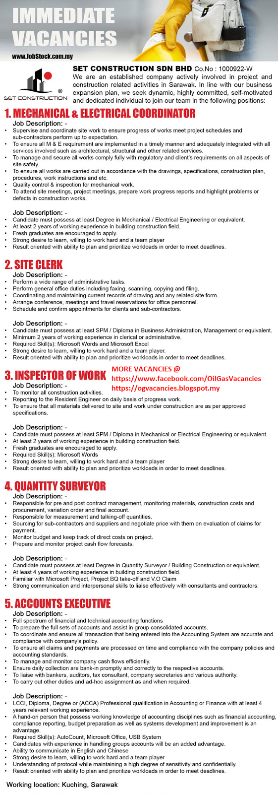 Oil &Gas Vacancies: Vacancies - SCSB - Kuching